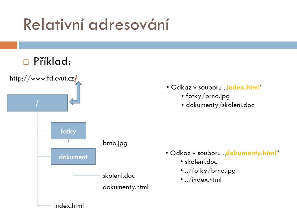 Relativní adresování Příklad: http://www.fd.cvut.cz/