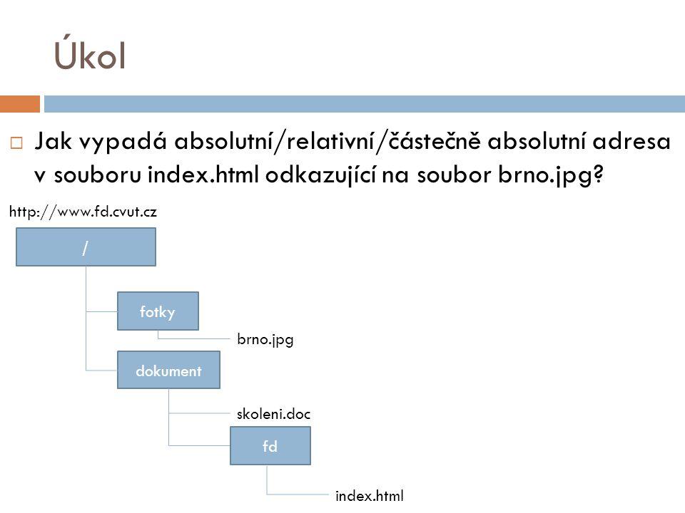 Úkol Jak vypadá absolutní/relativní/částečně absolutní adresa v souboru index.html odkazující na soubor brno.jpg?