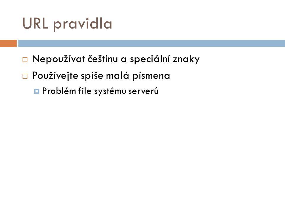 URL pravidla Nepoužívat češtinu a speciální znaky