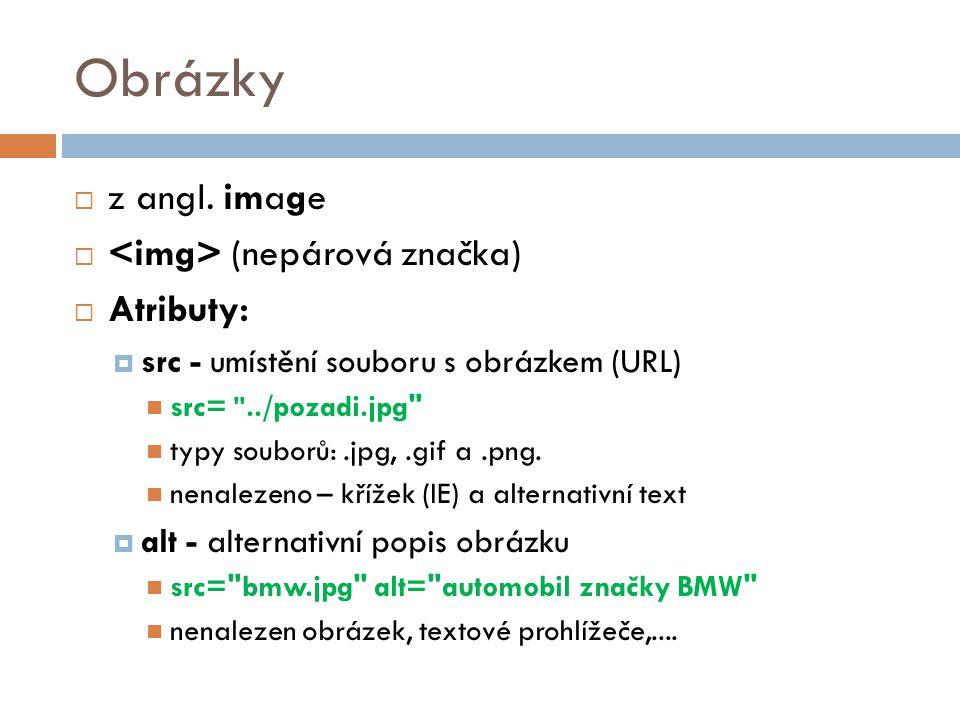 Obrázky z angl. image <img> (nepárová značka) Atributy: