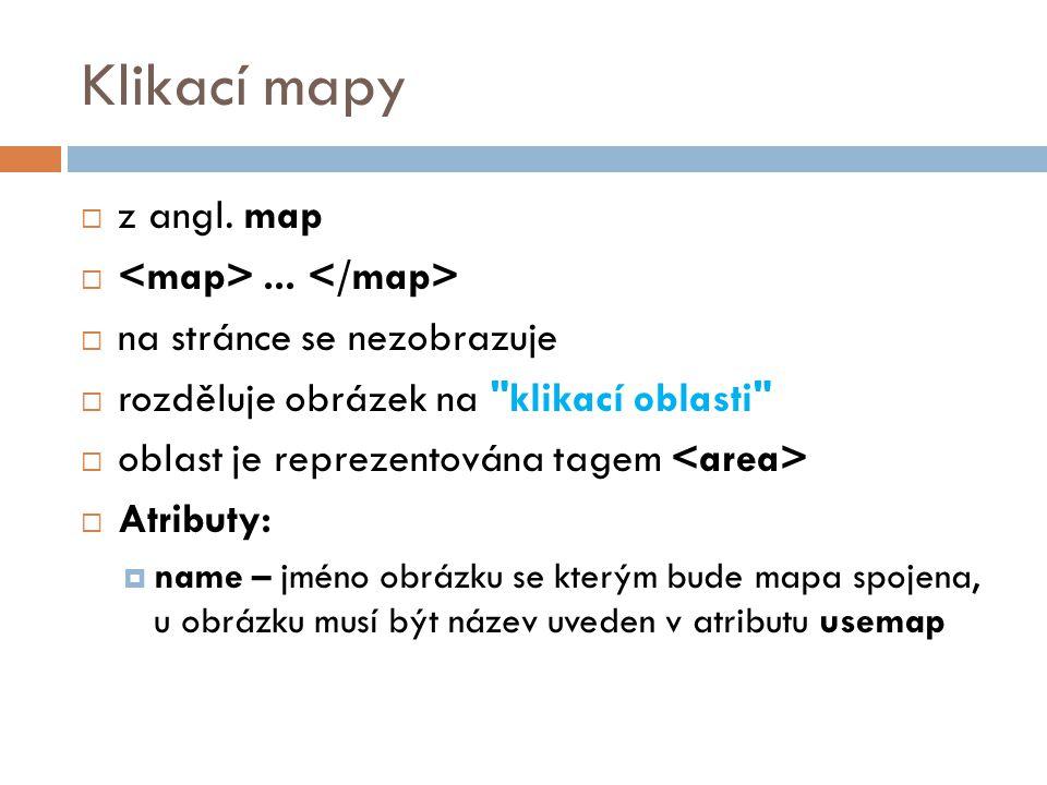 Klikací mapy z angl. map <map> ... </map>