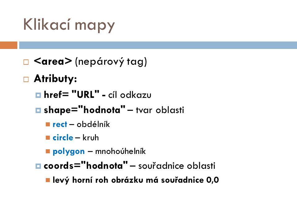 Klikací mapy <area> (nepárový tag) Atributy: