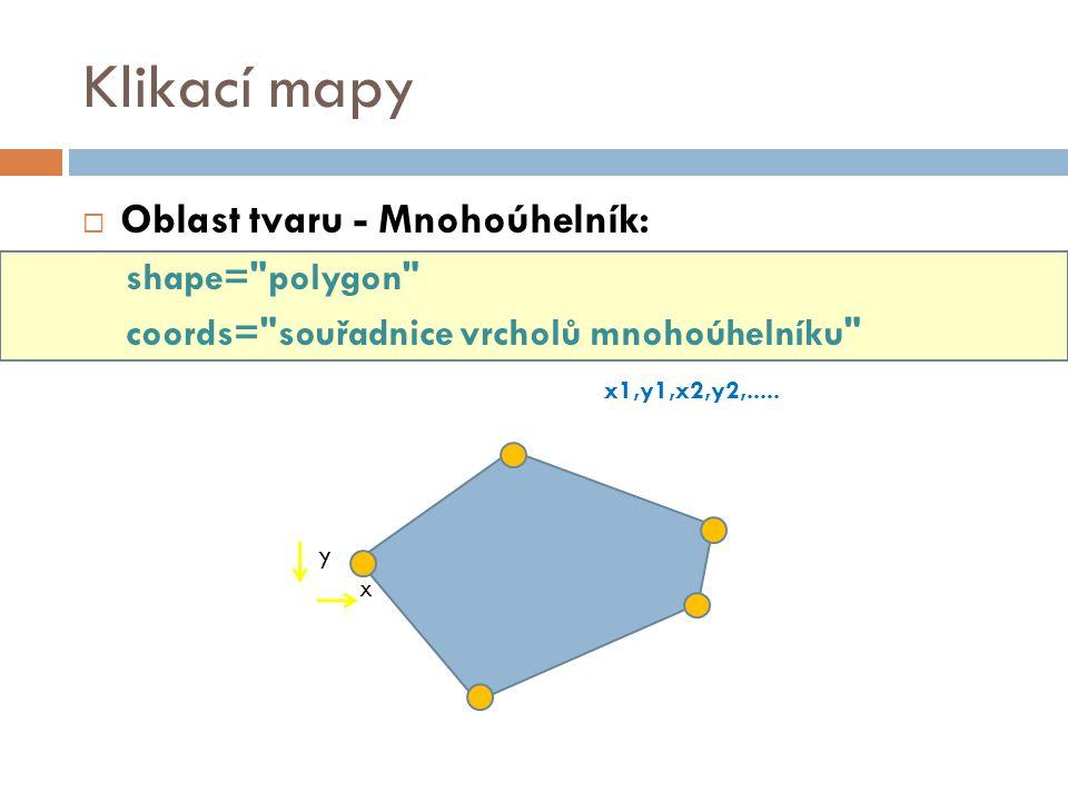 Klikací mapy Oblast tvaru - Mnohoúhelník: shape= polygon