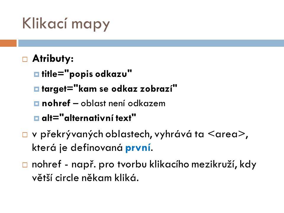 Klikací mapy Atributy: