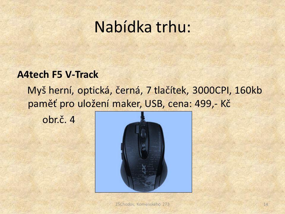 Nabídka trhu: A4tech F5 V-Track Myš herní, optická, černá, 7 tlačítek, 3000CPI, 160kb paměť pro uložení maker, USB, cena: 499,- Kč obr.č. 4
