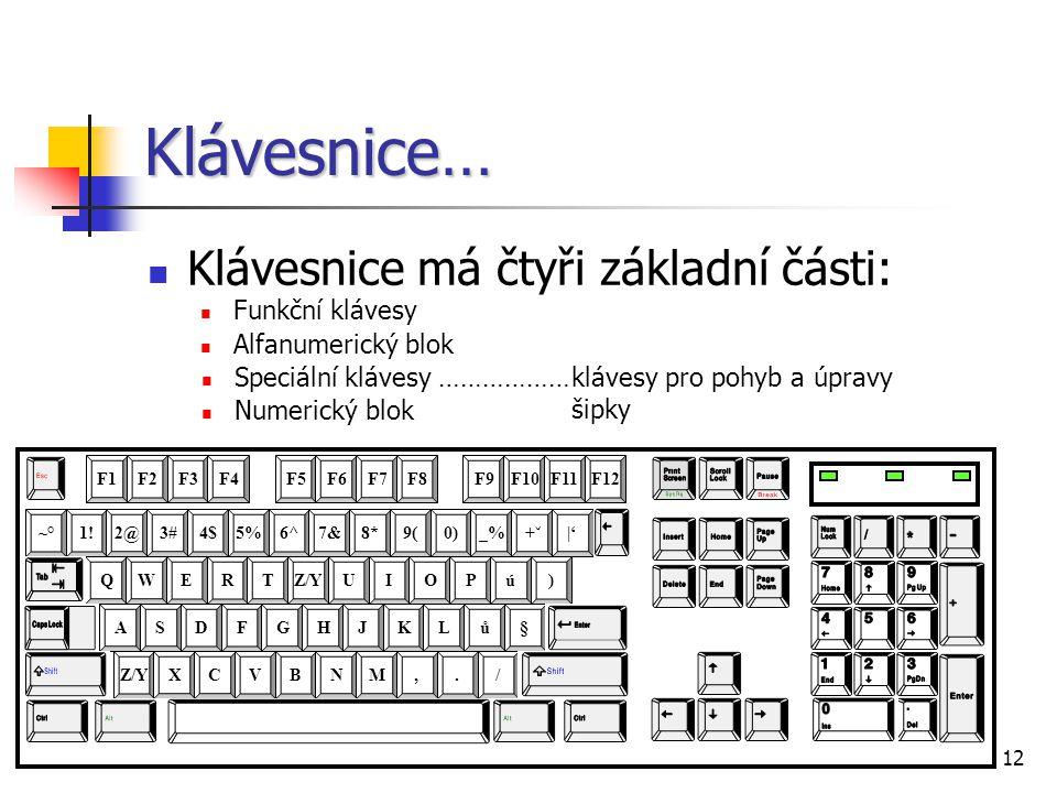 Klávesnice… Klávesnice má čtyři základní části: Funkční klávesy
