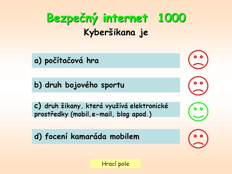 Bezpečný internet 1000 Kyberšikana je a) počítačová hra