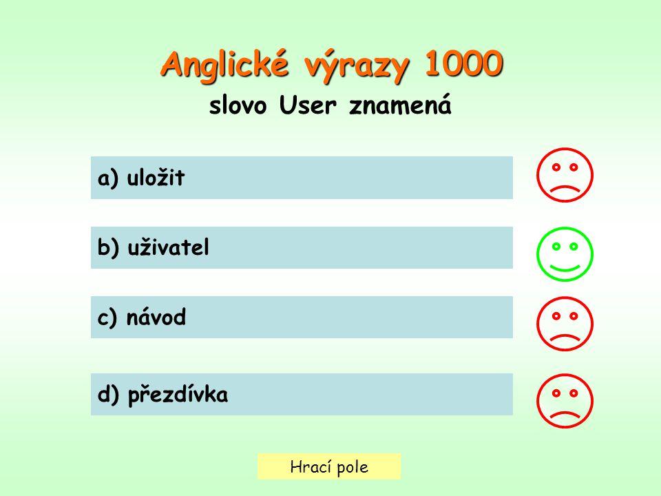 Anglické výrazy 1000 slovo User znamená a) uložit b) uživatel c) návod