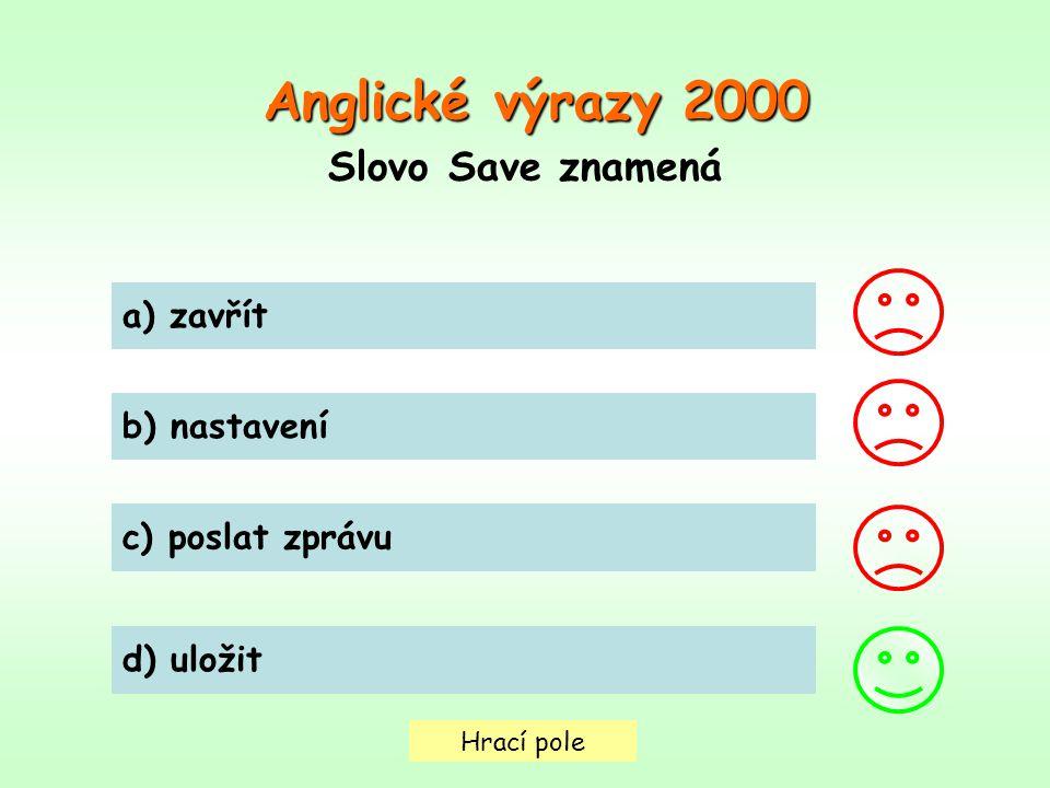 Anglické výrazy 2000 Slovo Save znamená a) zavřít b) nastavení