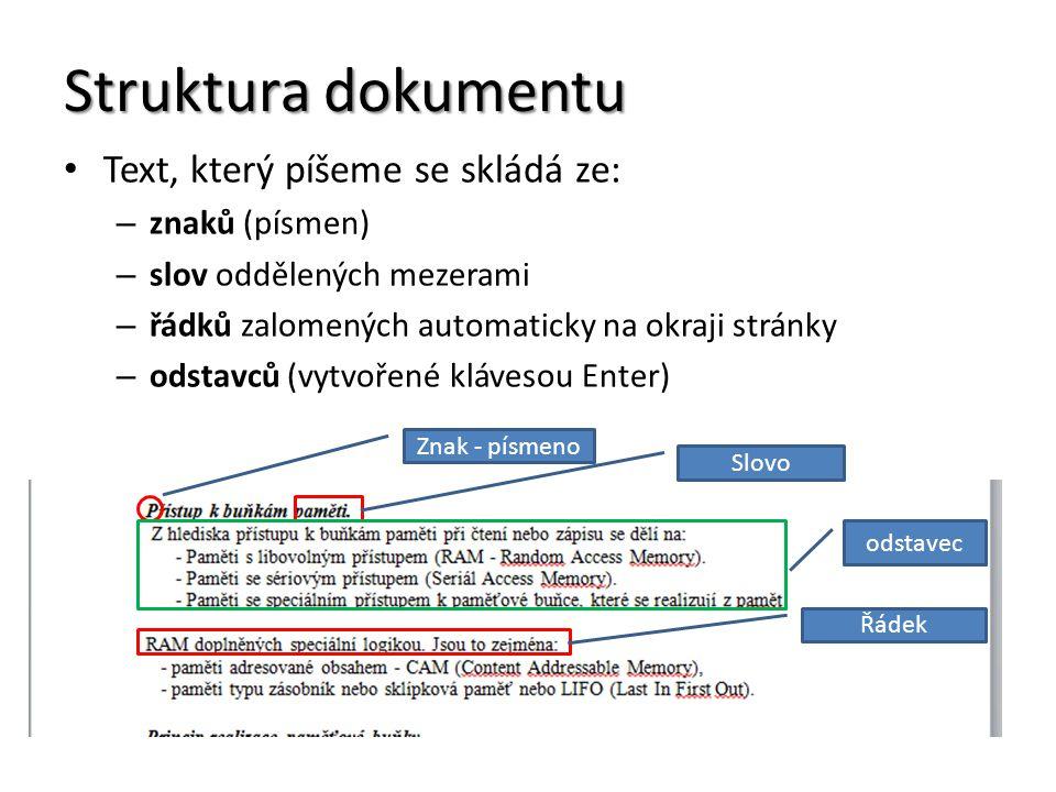 Struktura dokumentu Text, který píšeme se skládá ze: znaků (písmen)