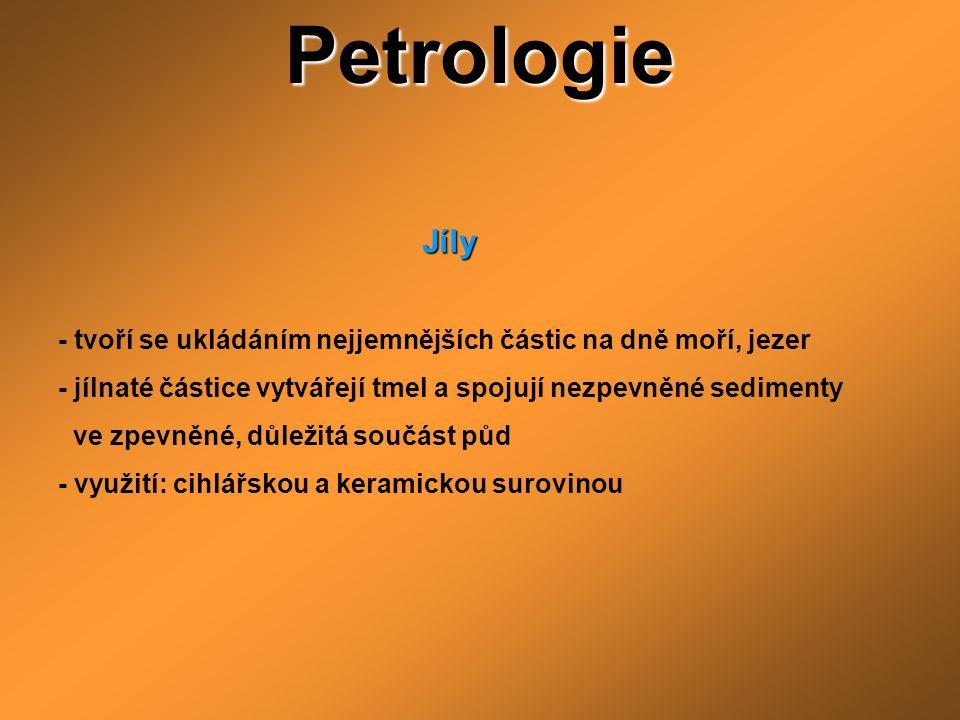 Petrologie Jíly. - tvoří se ukládáním nejjemnějších částic na dně moří, jezer. - jílnaté částice vytvářejí tmel a spojují nezpevněné sedimenty.