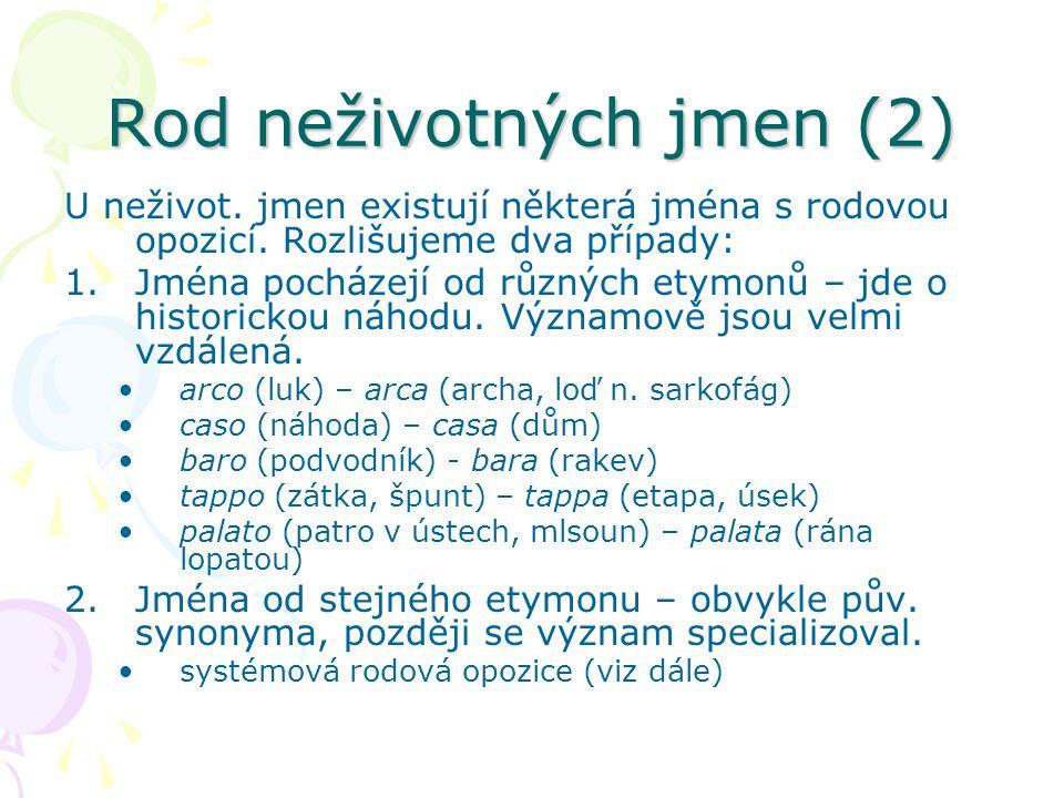Rod neživotných jmen (2)