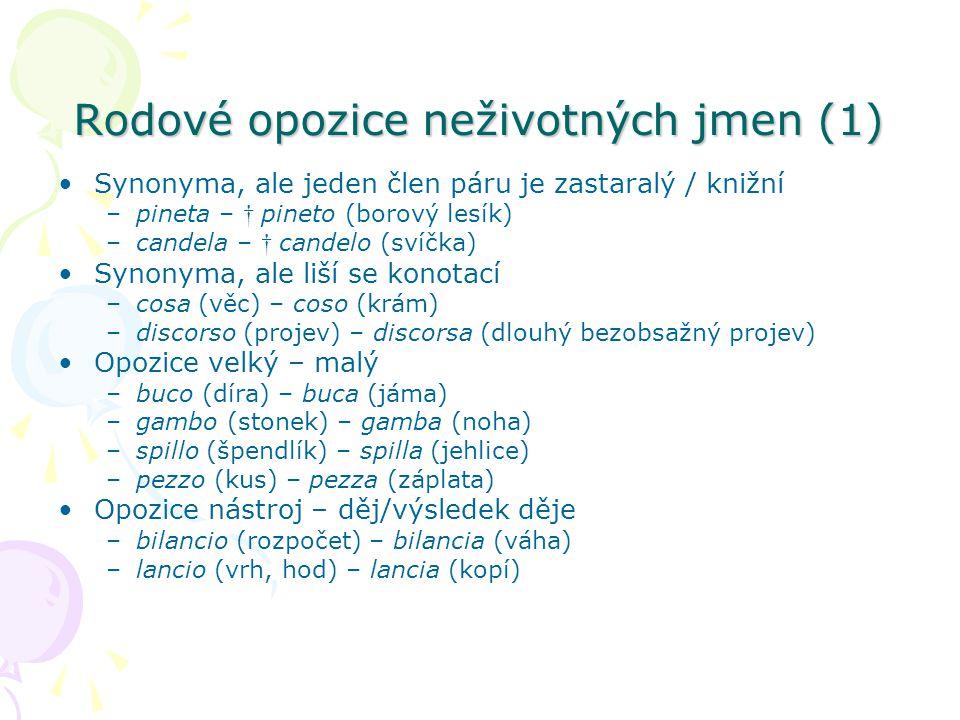 Rodové opozice neživotných jmen (1)
