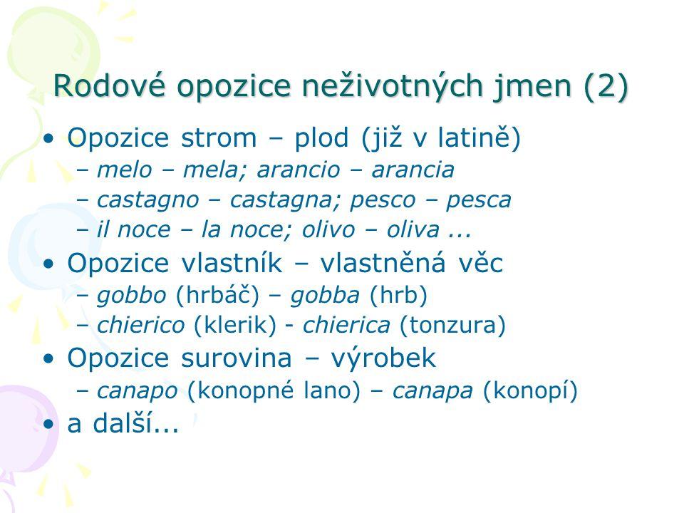Rodové opozice neživotných jmen (2)