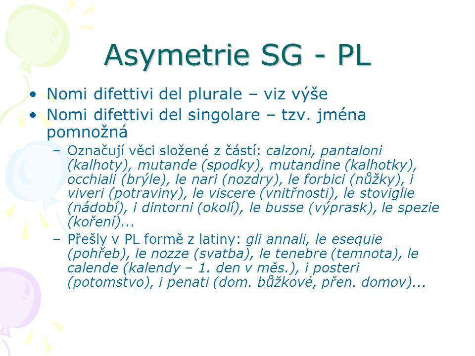 Asymetrie SG - PL Nomi difettivi del plurale – viz výše