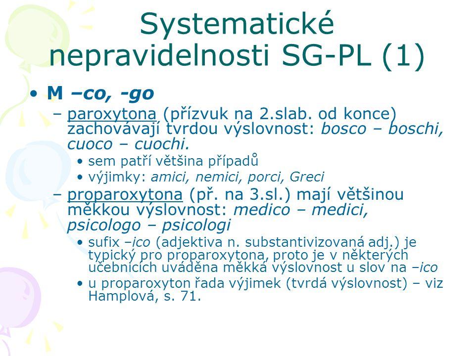 Systematické nepravidelnosti SG-PL (1)