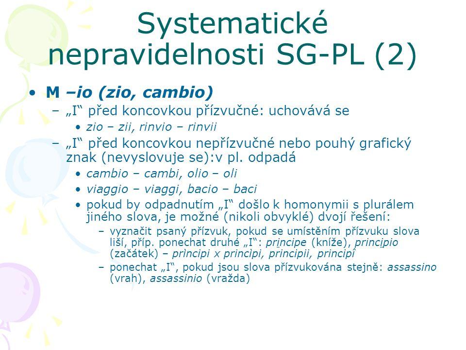 Systematické nepravidelnosti SG-PL (2)