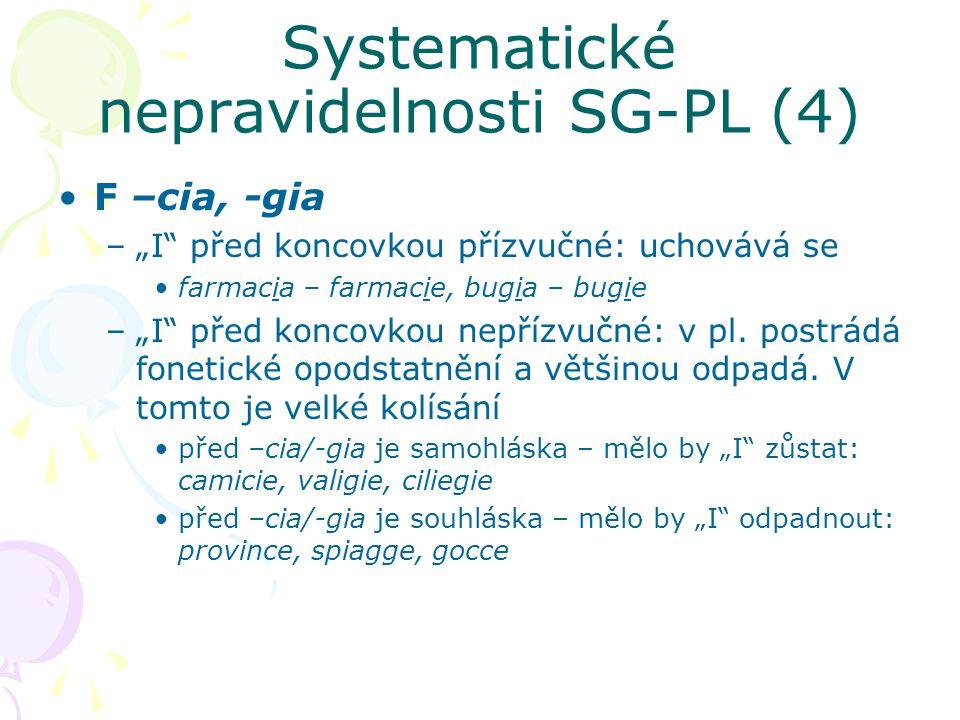 Systematické nepravidelnosti SG-PL (4)