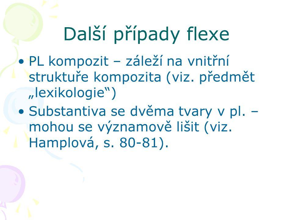 """Další případy flexe PL kompozit – záleží na vnitřní struktuře kompozita (viz. předmět """"lexikologie )"""
