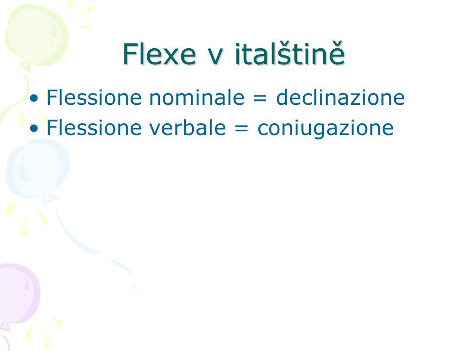 Flexe v italštině Flessione nominale = declinazione