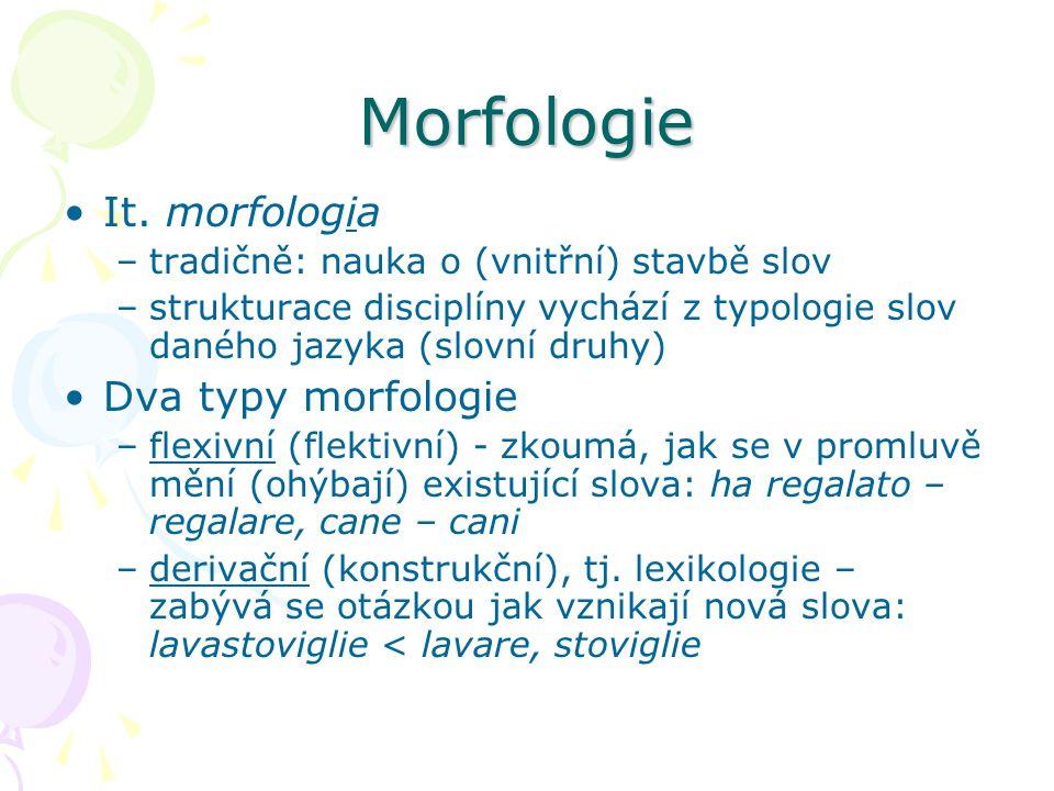 Morfologie It. morfologia Dva typy morfologie