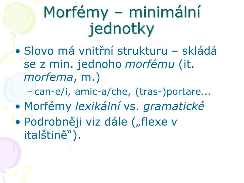 Morfémy – minimální jednotky
