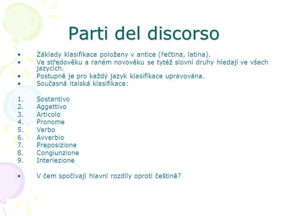 Parti del discorso Základy klasifikace položeny v antice (řečtina, latina).