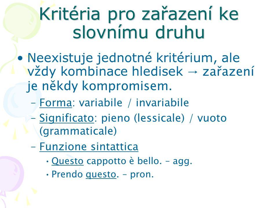Kritéria pro zařazení ke slovnímu druhu