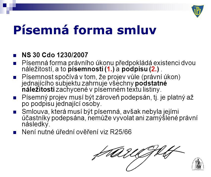 Písemná forma smluv NS 30 Cdo 1230/2007