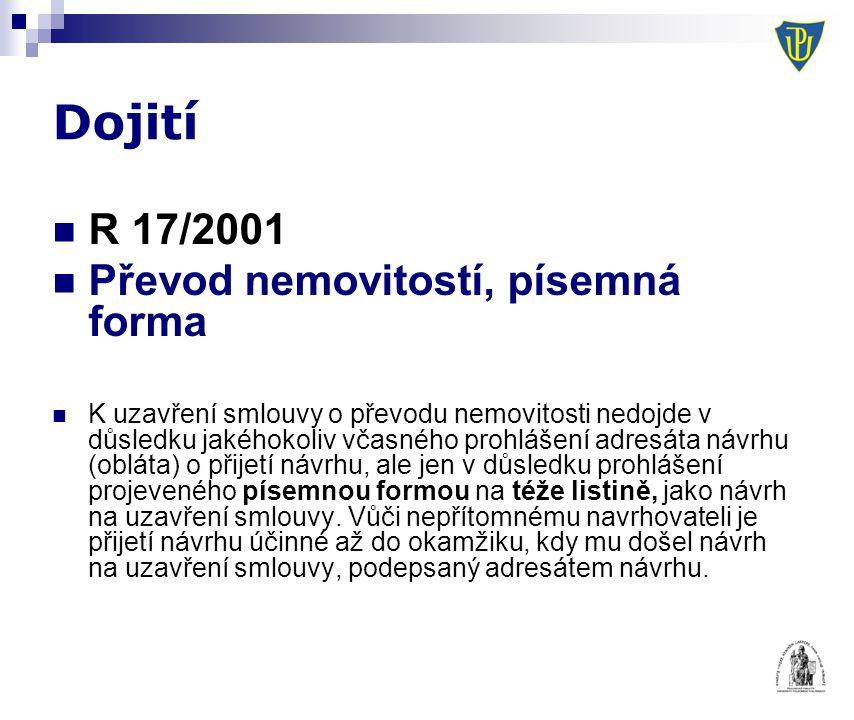 Dojití R 17/2001 Převod nemovitostí, písemná forma