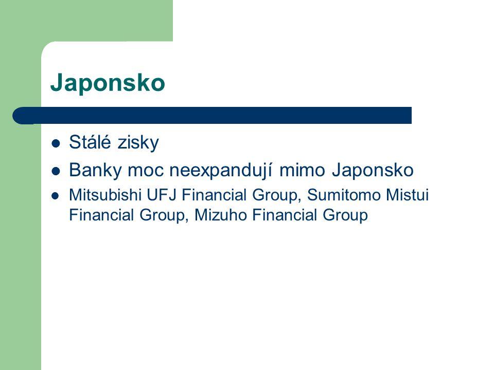 Japonsko Stálé zisky Banky moc neexpandují mimo Japonsko