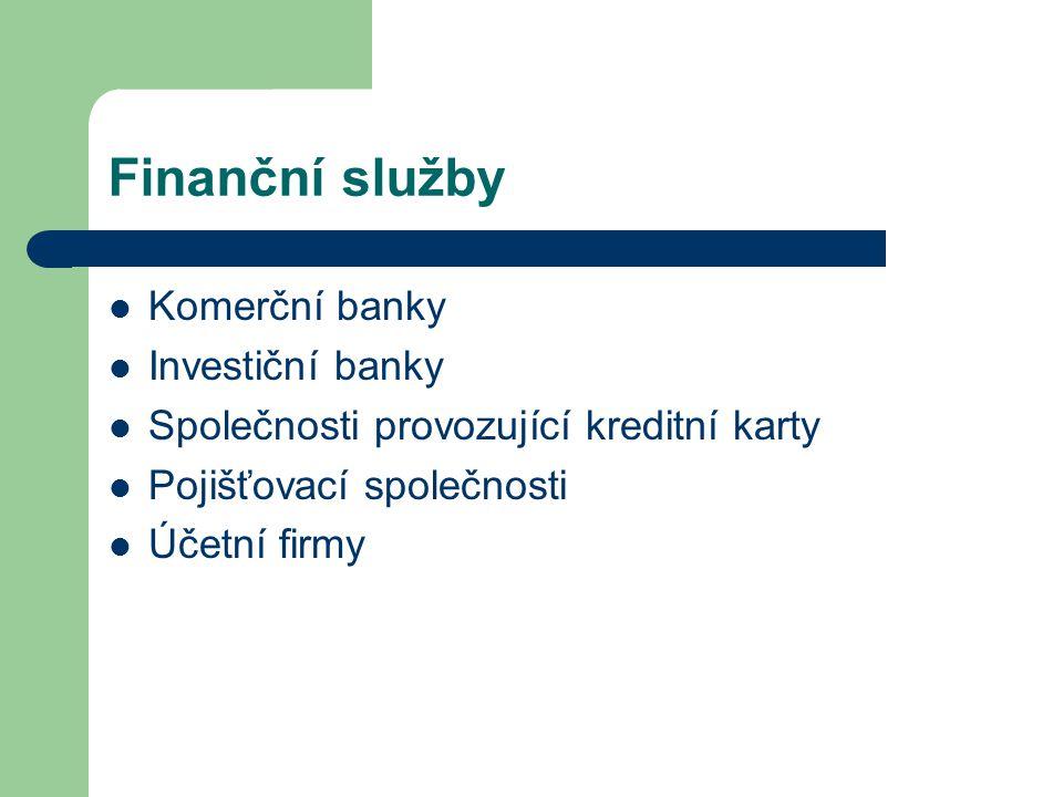 Finanční služby Komerční banky Investiční banky
