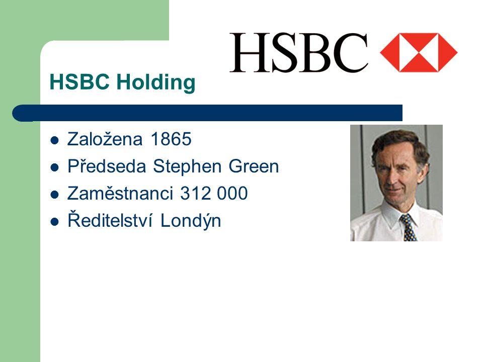 HSBC Holding Založena 1865 Předseda Stephen Green Zaměstnanci 312 000