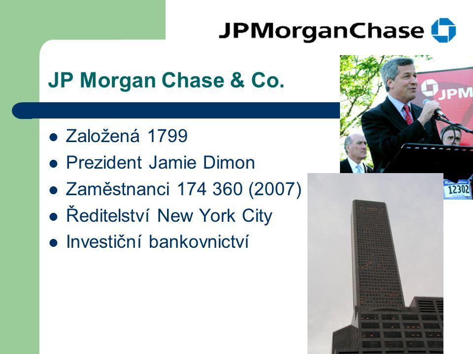 JP Morgan Chase & Co. Založená 1799 Prezident Jamie Dimon