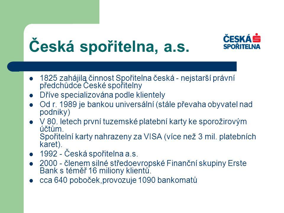 Česká spořitelna, a.s. 1825 zahájila činnost Spořitelna česká - nejstarší právní předchůdce České spořitelny.