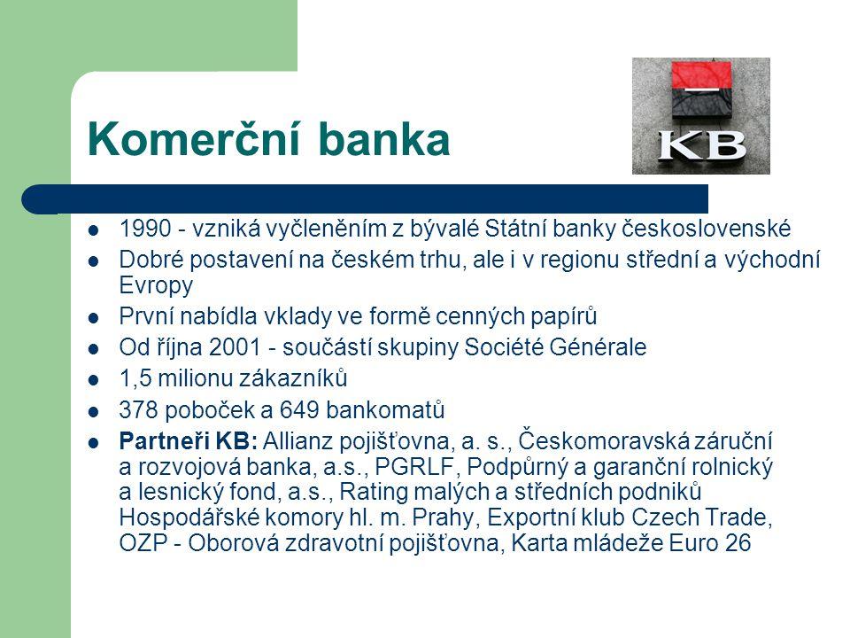 Komerční banka 1990 - vzniká vyčleněním z bývalé Státní banky československé.