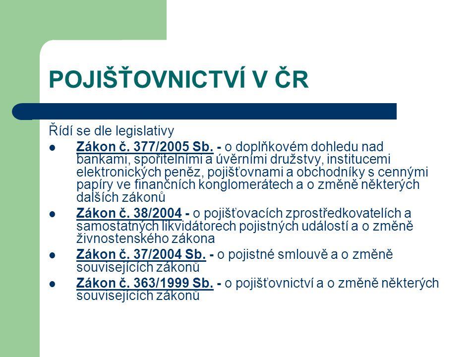 POJIŠŤOVNICTVÍ V ČR Řídí se dle legislativy
