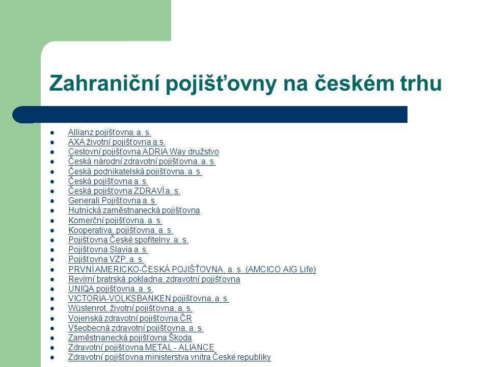 Zahraniční pojišťovny na českém trhu