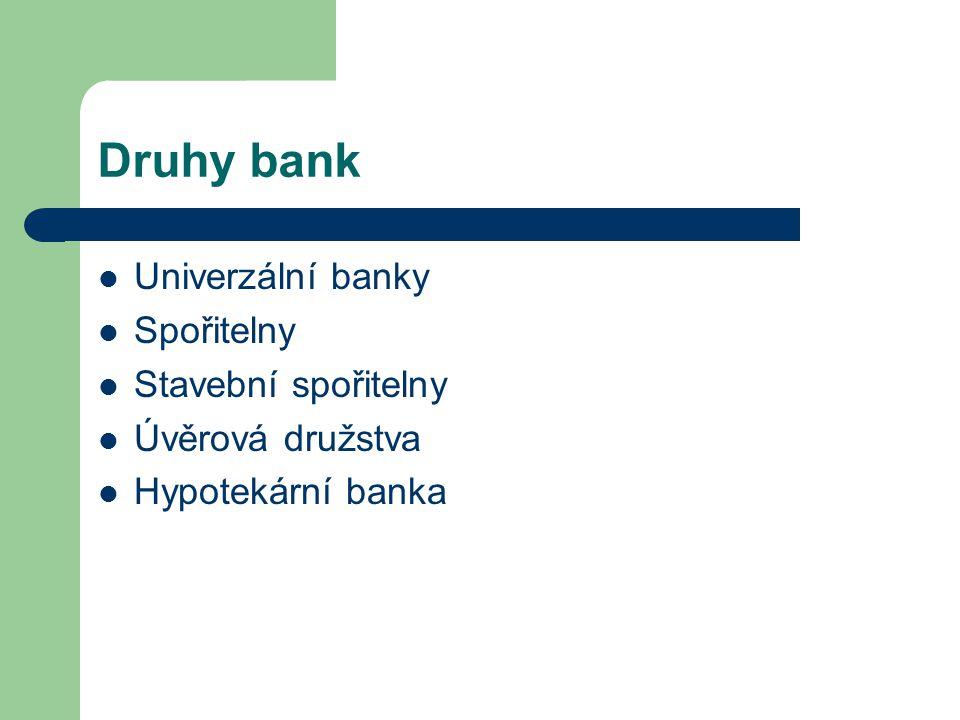 Druhy bank Univerzální banky Spořitelny Stavební spořitelny