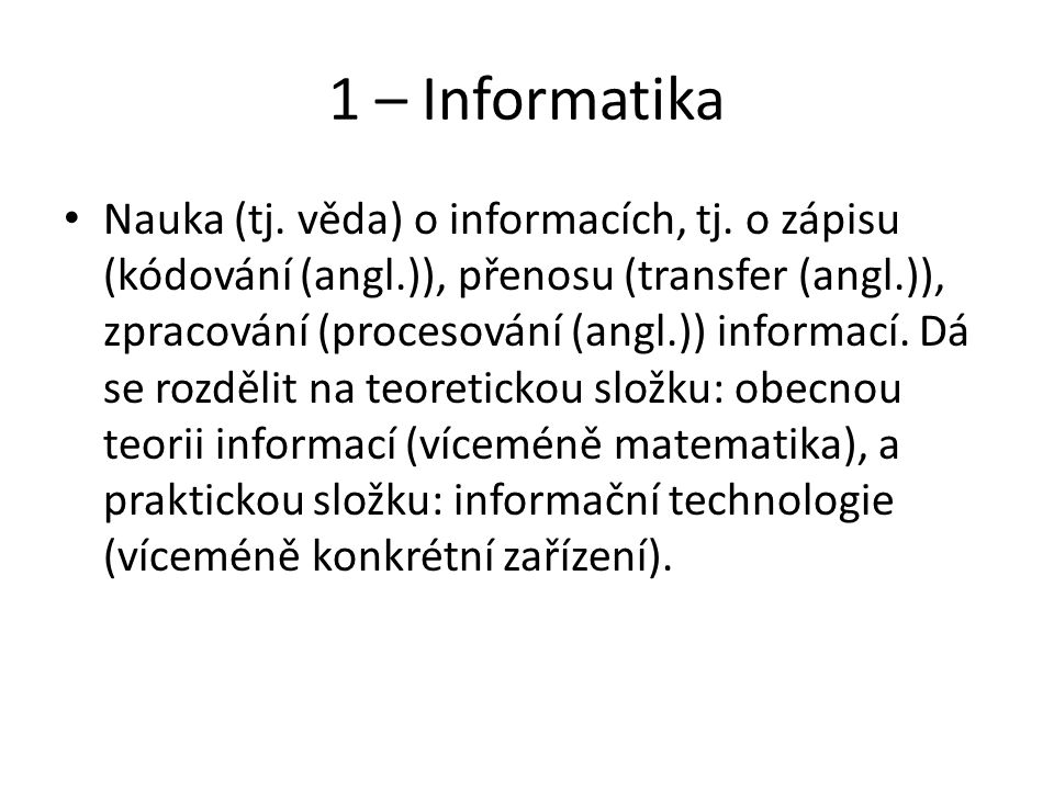 1 – Informatika