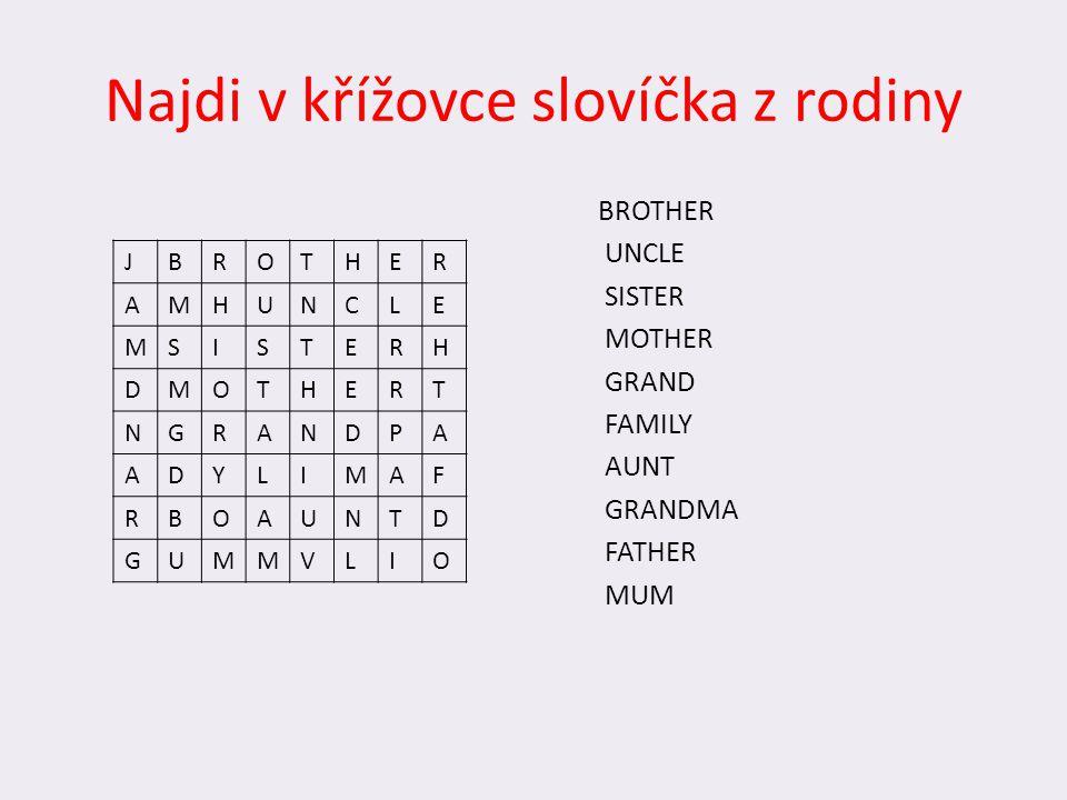 Najdi v křížovce slovíčka z rodiny