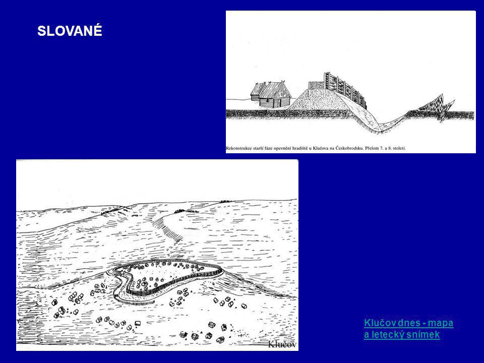 SLOVANÉ Klučov dnes - mapa a letecký snímek