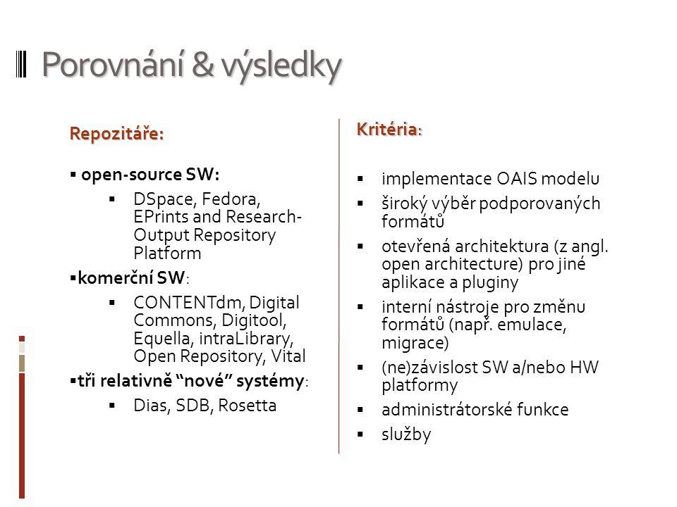 Porovnání & výsledky Repozitáře: open-source SW: