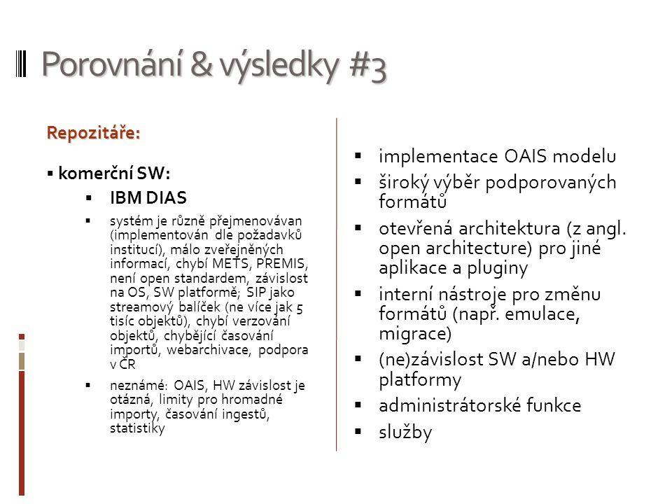 Porovnání & výsledky #3 implementace OAIS modelu
