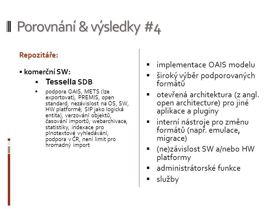 Porovnání & výsledky #4 implementace OAIS modelu
