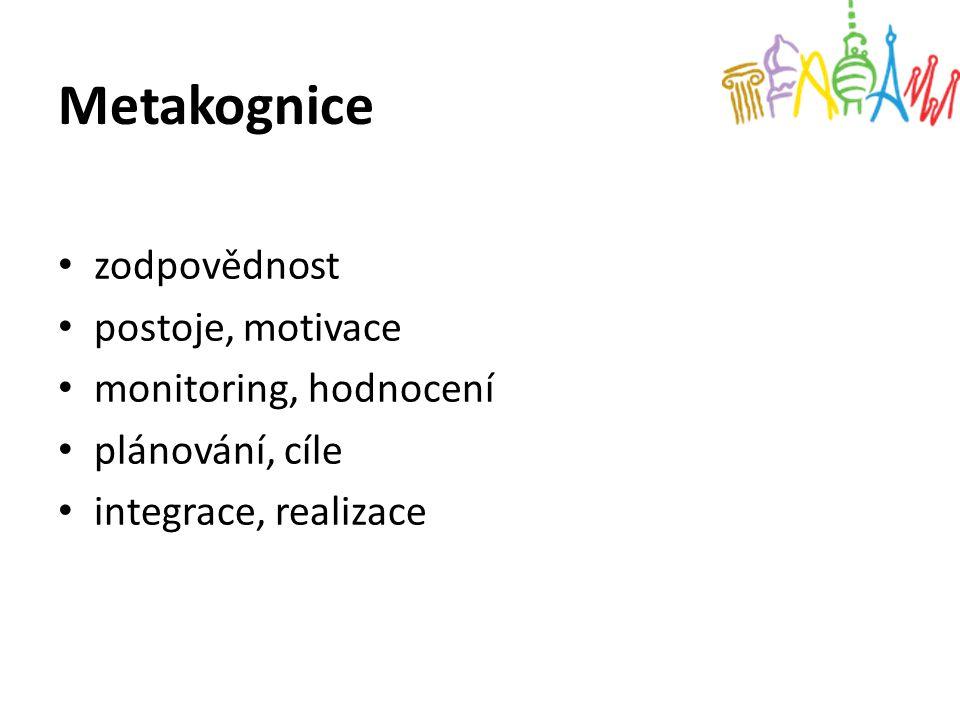 Metakognice zodpovědnost postoje, motivace monitoring, hodnocení