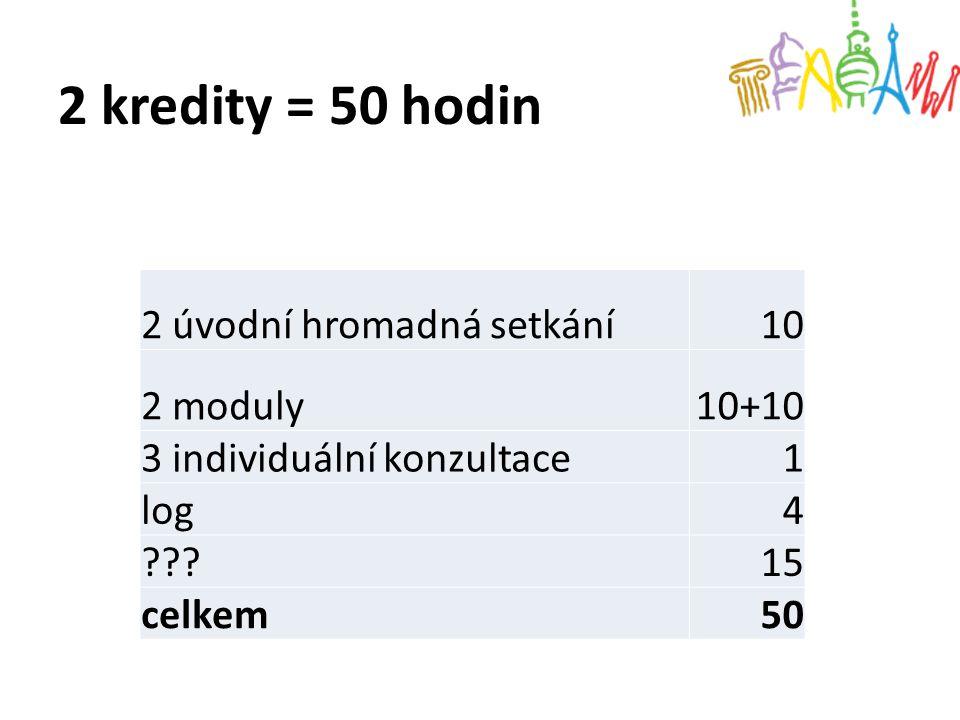 2 kredity = 50 hodin 2 úvodní hromadná setkání 10 2 moduly 10+10