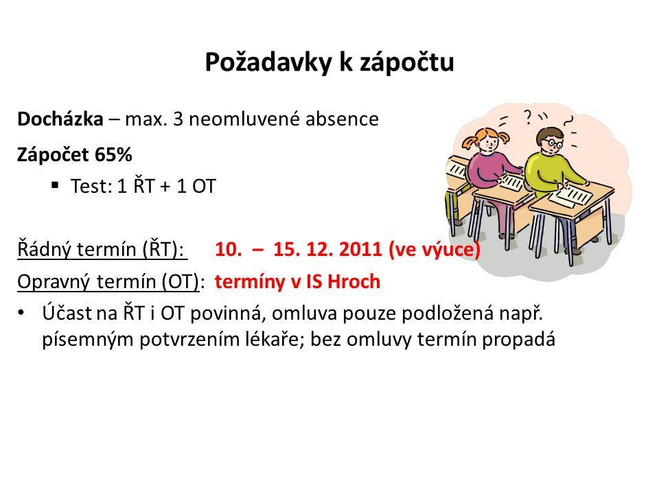 Požadavky k zápočtu Docházka – max. 3 neomluvené absence Zápočet 65%