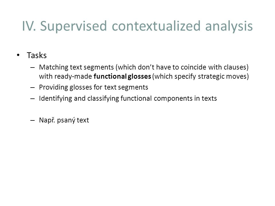 IV. Supervised contextualized analysis