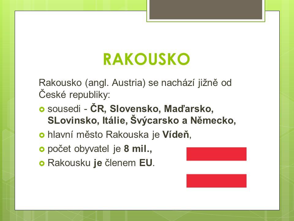RAKOUSKO Rakousko (angl. Austria) se nachází jižně od České republiky: